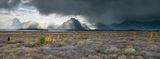 Panoramic, landscape, Grand Teton, Autumn, fall colors, storm, light, clouds, panoramique, paysage, orage, automne