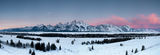 Grand Teton National Park, panorama, sunrise, winter, landscape, moonset, paysage, hiver