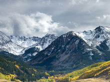 Panoramic, landscape, Autumn, storm, Elk Mountains, Aspen, fall colors, panoramique, paysage, automne, orage