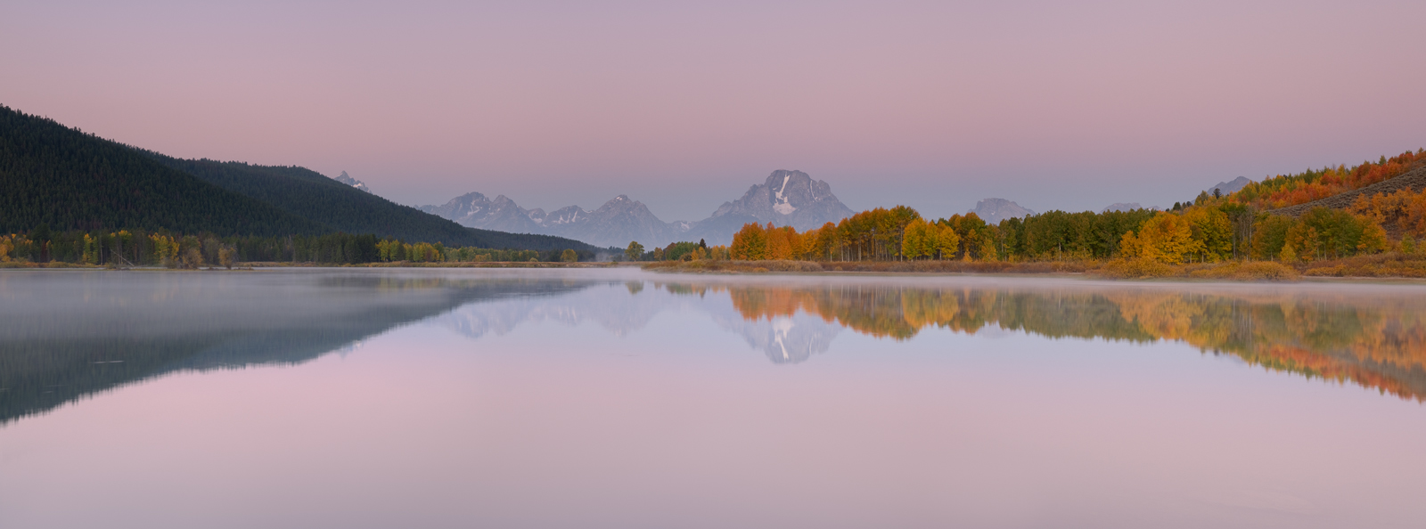 Panoramic, landscape, fall colours, autumn, snake river, oxbow bend, sunrise, Grand Teton, Wyoming, panoramique, paysage, automne, lever de soleil, photo