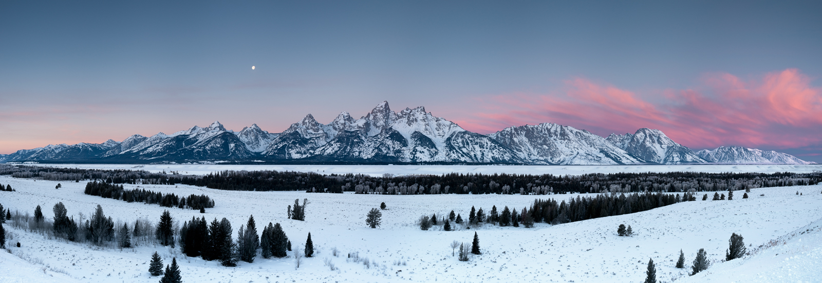 Grand Teton National Park, panorama, sunrise, winter, landscape, moonset, paysage, hiver, photo