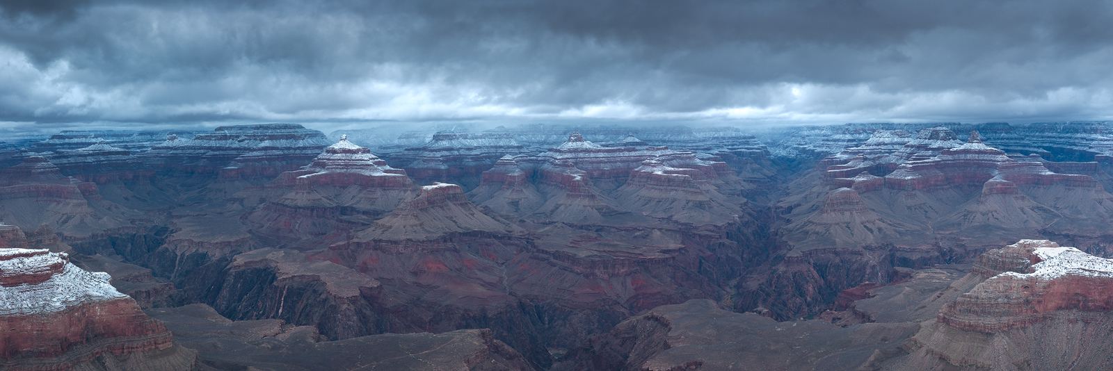 Panoramic, landscape, photography, Grand Canyon, Arizona, Winter, snow, storm, neige, hiver, panoramique, photo