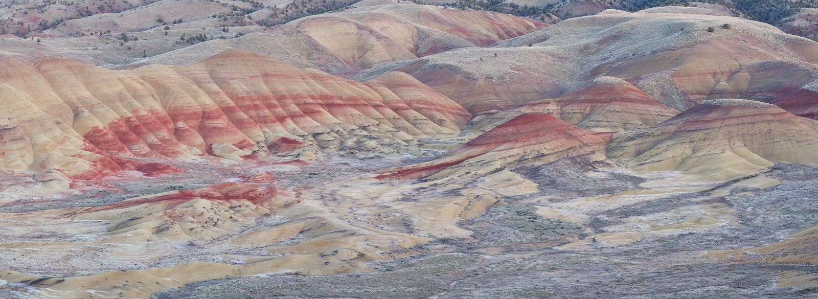 Panoramic, landscape, painted hills, Oregon, twilight, sunset, pastels, bentonite, panoramique, paysage, couleurs, photo