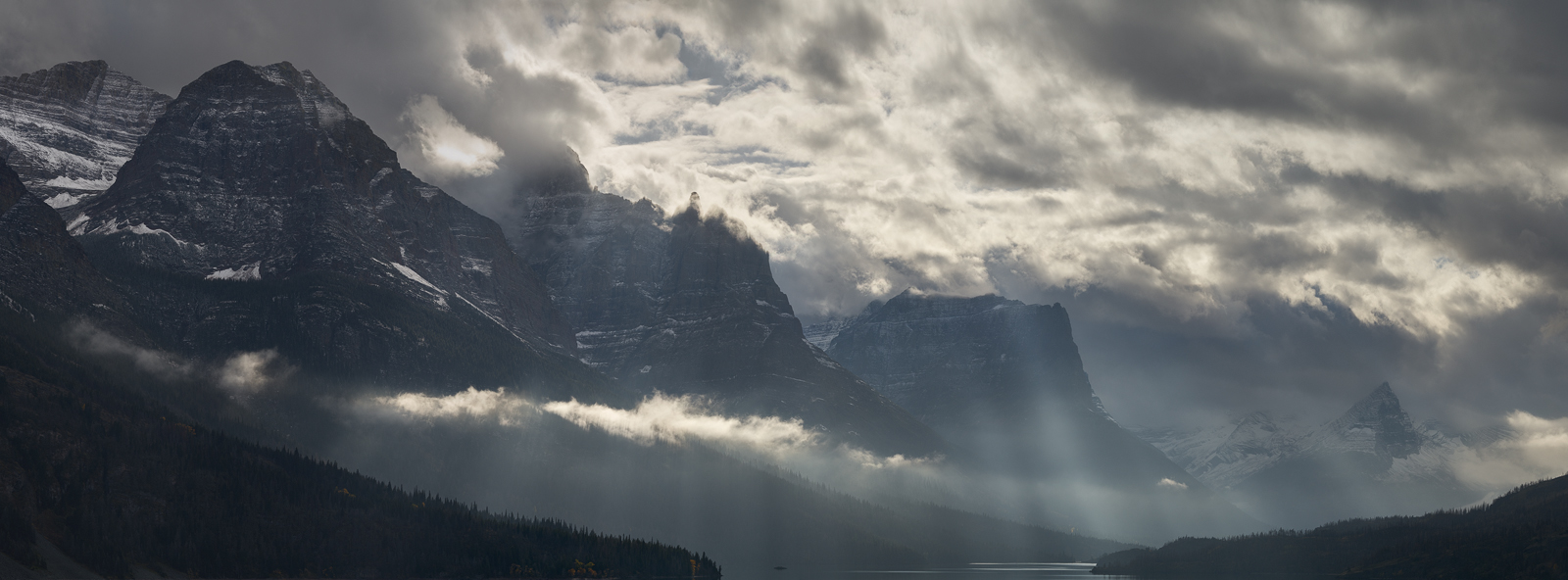 Panoramic, landscape, Glacier, Autumn, storm, light, clouds, montana, panoramique, paysage, orage, automne, photo
