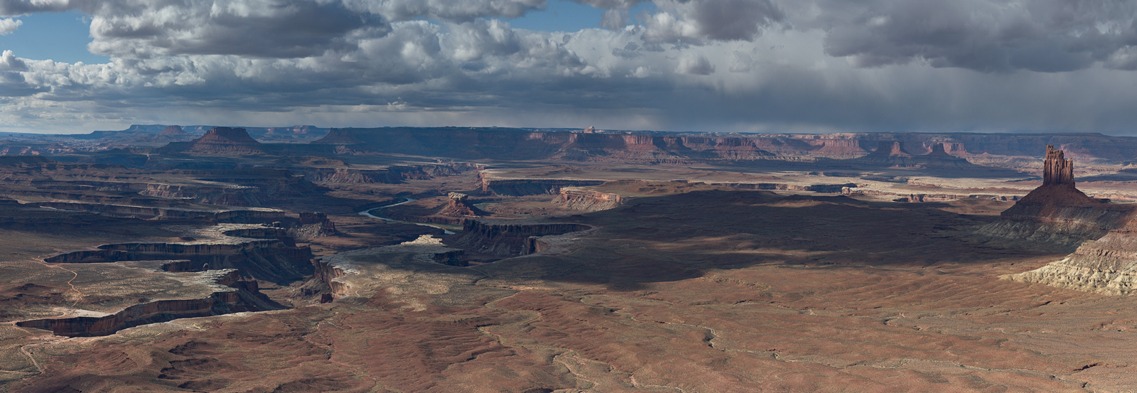 Canyonlands, panoramic, landscape, photography, storm, Green River, Utah, winter, panoramique, shadows, ombres, paysage